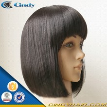 New products 100 brazilian human asian women hair short bob lace front wig with bangs