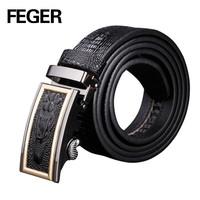 Mens Business Leather Belt Auto Lock Buckle