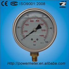steam boiler oil filled bourdon tube pressure gauge double scale 100 bar psi