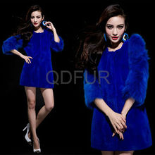 QD29649 Ladies Clothes Sapphire Genuine Rex Rabbit Fur With Fox Fur Sleeve Girls Winter Coats