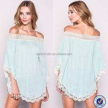 2015 fashion women apparel off shoulder top blouse crochet flare hem bat sleeve kimono tops