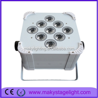 Maky Guangzhou Lighting led 9pcs 18watts battery Gobo uv stage lights wireless dmx controller with IR remote