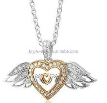 CZ stone and 925 silver two tone pendant,angel love's pendant