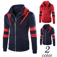 New High quality fake two pieces men slim fit hoodie jakcets