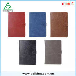 For iPad Mini 4 Wallet Business PU Covers, Book Pattern Cases For iPad Mini 4 Crazy Horse Leather Case