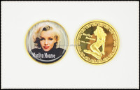 Hot Selling The America Popular Musiacian Marilyn Monroe Fine Gold Plated Sexy Souvenir Coin