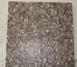 """Home wall decoration nature stone 1"""" square shaped dark emperador brown marble mosaic tile"""