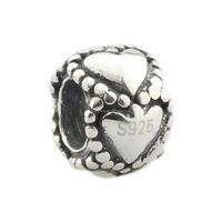 Wholesale Valentine Love Heart Circles Spacer Bead Genuine 925 Sterling Silver Charm for European Bracelet