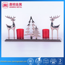 Double deer/christmas tree tea light candle holder , metal candle holder