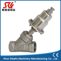 2 way pneumatic operated threaded angle seat valve for water , steam, gas