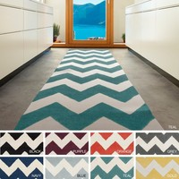 Contemporary Hand-tufted Chevron Wool Area Rug