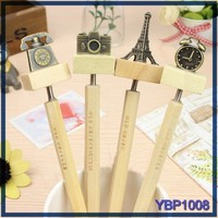 stationery wholesale from china wood ballpoint pen with vintage clock