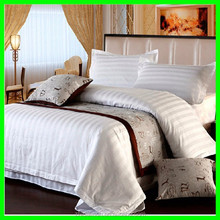 Promotional stripe white queen size hotel bedding