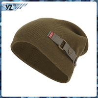 wholesale 100 cotton knitted yarn hat soft cotton embroidered custom