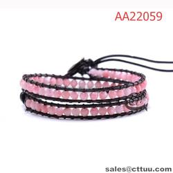 Fashion jewelry manufacturer china 2 wrap leather bead bracelet