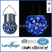 LED color changing hanging cracked glass ball outdoor garden solar light