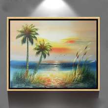 canvas new hand painted seascape island decoration modern oil painting JH-402
