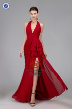 Floor Length Halter Split Front Sexy Burgundy Evening Dress HMY-CDE002 Real Dress Model Show Girls Dresses