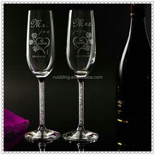 Hotsale Shining Engraved Champagne Glass For Wedding Souvenir