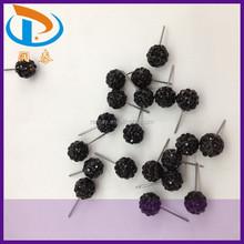 Hot Sale 8mm 10mm 14mm 16mm Black Crystal Rhinestone Jewelry Stud New Clay Earrings