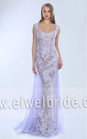 S1015 Scoop Appliqued See Through Chiffon Sexy Long Evening Dress
