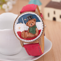 Lovely stereoscopic little bear five-pointed star tower clamshell children watches 2015