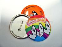 Promotional custom design 75mm dia. big round tin button badges