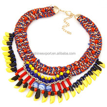 Indian Tribe Woven Chain Bib Necklace, Mix color Choker Bib Necklace