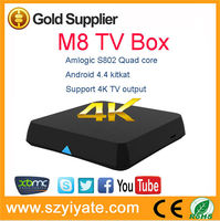 android tv box m8 Amlogic S802 Quad Core Android 4.4 KitKat 4K XBMC 2GB RAM 8GB ROM smart tv box