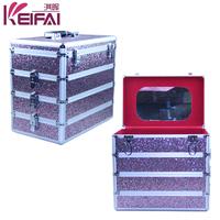 Customised Lockable Multi-Functional Multi Color Sequin PU Hard Side Cosmetic Case