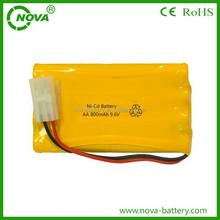 china supplier ni-cd aa 800mah nicd battery pack 9.6v