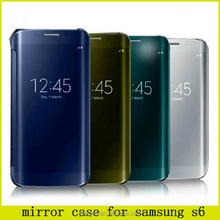 Luxury Electroplating PC Hard Flip Case For Samsung S6 For Samsung S6 Mirror Flip Cover