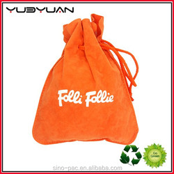 2015 Factory Price Wholesale Fashion Style Printing Orange Small Cotton Drawstring Bags