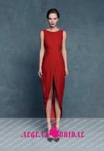 GQ7 New arrival o neck Sleeveless short front long back red vestido longo de festa evening dress 2015
