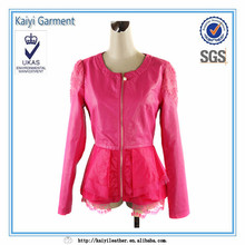 desgaste de moda nuevo modelo de encaje de color rosa dobladillo de corea las mujeres abrigo deinvierno 2014