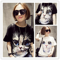 VF320 Lovely cat big size 3d t-shirt sex girls photos new style