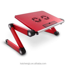 Ergonomic dimension laptop table with cooling fans