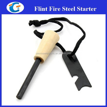 Survival Tool Firesteel Wooden Flint With Opener LM-18M