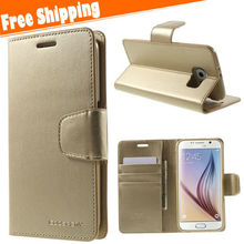 Wallet Style PU Leather flip Case for Samsung galaxy S6 Vintage Phone Bag with Stand and Card Slot