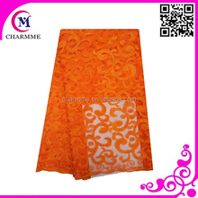 african newest lace tulle embrodery fabrics CCL-9N058 orange