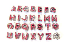 DIY 10 mm dark pink Rhinestone Slide Letters for 10 MM strap .color stone letter