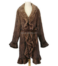 QC6004 classic style plus size real mink fur knit overcoats / coat with belt