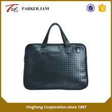 Mature weave pattern pu leather bag business briefcase for men