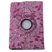 2015 hot sale New design 360 degree Rotating Flip Grape Flower Stand Leather Case Cover for iPad Mini Purple
