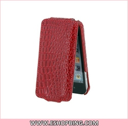 Crocodile PU Leather for iphone 4G Case with Front Cover