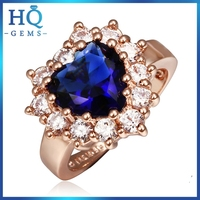 heart gems ring for christmas gift Gold plating silicone wedding ring