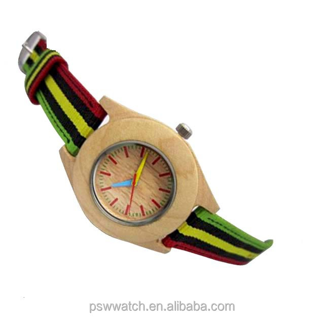simple dial colorful Japan quartz leather strap wood watch bamboo watch
