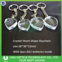Promotion crylic led crystal keyring manufacturer