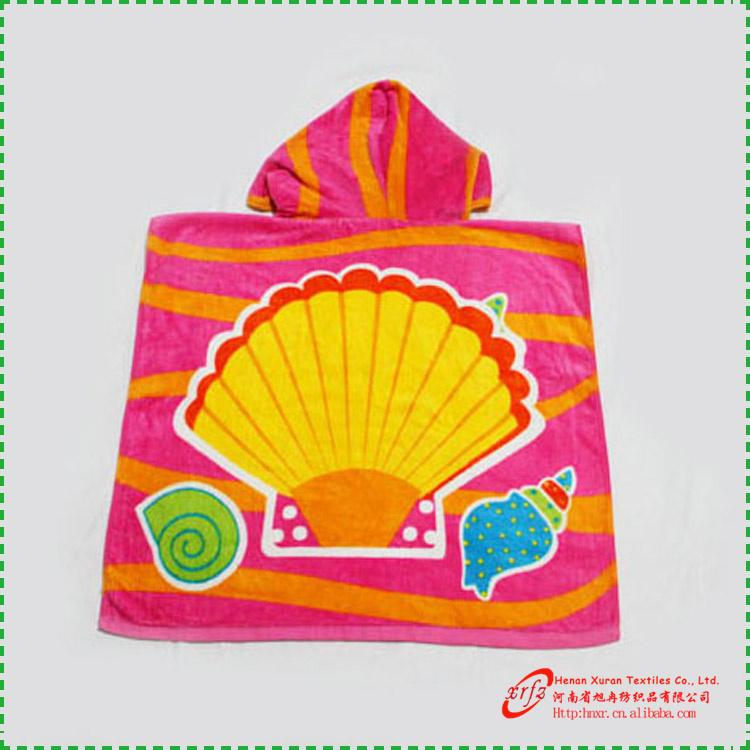 Poncho Baño Infantil:shell patrón de algodón bebé bata con capucha infantil la bata de