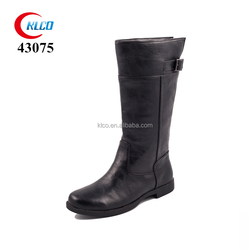 Women classy black leather buckle dress zippers half boots shoes